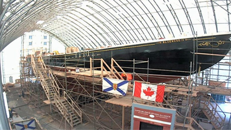 The Bluenose II undergoing a major rebuild at the Lunenburg Shipyard, in Lunenberg, N.S. (screenshot taken from novascotiawebcams.com)