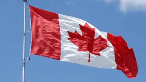 Raised Canada Flag