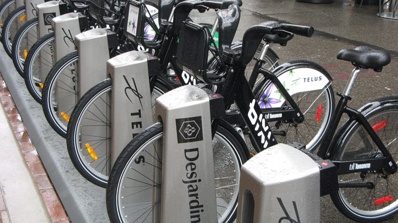 Bicycles are lined up as the public bike-sharing system BIXI is launched in Toronto, Tuesday, May 3, 2011. (THE CANADIAN PRESS/Pat Hewitt)