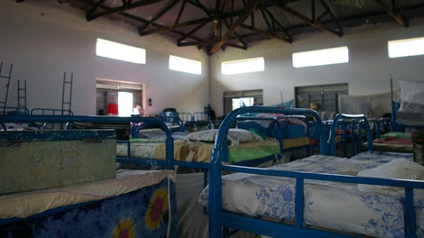 One of two giant dorms at the Pader Girls Academy in Pader, Uganda. Girls often sleep two to a bed, sometimes sharing their single cot with at least one child. (Darcy Wintonyk/ CTV)