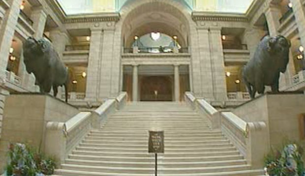 A file image shows the inside of the Manitoba legislative building.