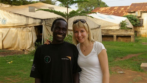 CTV reporter Darcy Wintonyk with former child solider Patrick Okello at the Children of War Centre in Gulu, Uganda. Okello escaped from captivity under the LRA along with 11 others in November 2009.
