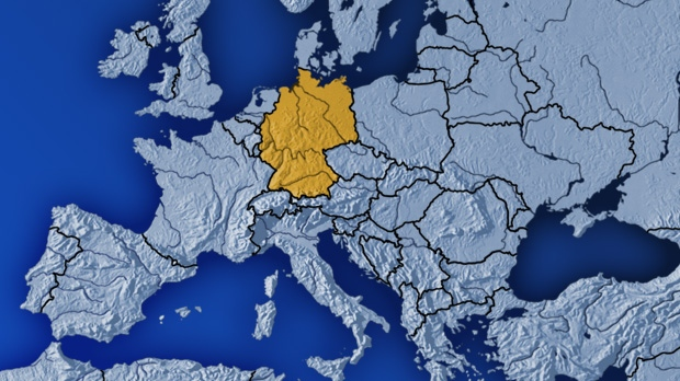 A map of Germany is seen in this image.