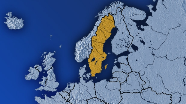A map highlighting Sweden.