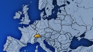 Switzerland is highlighted in this map of Europe.