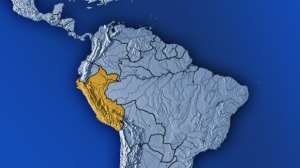 Peru is highlighted on this map of South America.