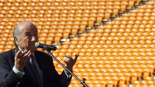FIFA President Sepp Blatter speaks during the Soccer City hand-over ceremony in Johannesburg, Wednesday June 2, 2010. (AP Photo/Themba Hadebe)