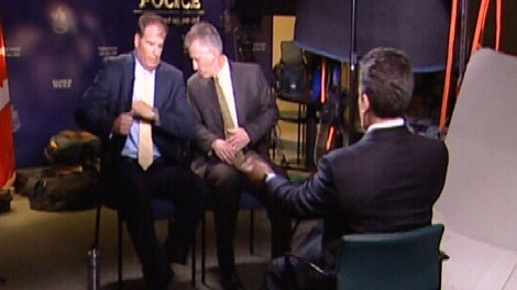 Saanich police investigators sit for an interview with NBC's Dateline to discuss the murder of Lindsay Buziak. June 30, 2010. (CTV)