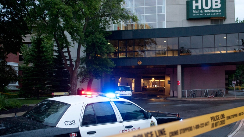 A police cruiser guards a crime scene after an attempted armed robbery left three people dead near the HUB Mall area on the campus of the University of Alberta in Edmonton on Friday, June 15, 2012. (Ian Jackson / THE CANADIAN PRESS)