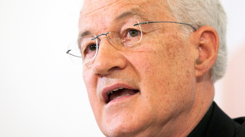 Cardinal Marc Ouellet responds to media at a news conference about his appointment by Pope Benedict XVI as Prefect of the Congregation for Bishops in Quebec City, Wednesday, June 30, 2010. (Jacques Boissinot / THE CANADIAN PRESS)