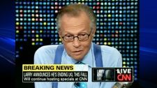Talk show host Larry King announces his retirement during his show 'Larry King Live' on Tuesday, June 29, 2010.