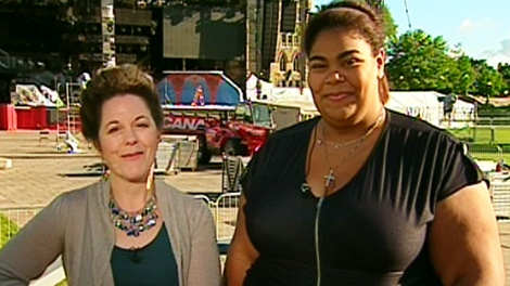 Sculptor Ruth Abernethy, left, and Celine Peterson, the daughter of Oscar Peterson, speak to Canada AM on Wednesday, June 30, 2010.