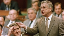 Deputy Prime Minister Erik Nielsen answers questions in the House of Commons on April 29, 1986.(The Canadian Press/Charles Mitchell)