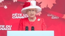 Queen Elizabeth delivers her remarks as she speaks during the Canada Day celebrations on Parliament Hill in Ottawa, Thursday July 1, 2010. (Adrian Wyld / THE CANADIAN PRESS)