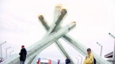 Vancouver's Olympic flame burns again to celebrate Canada Day. July 1, 2010. (CTV)
