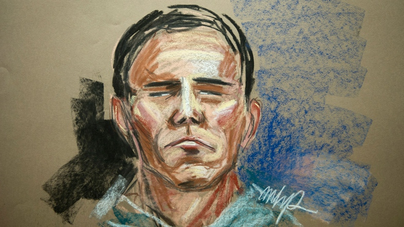 Luka Magnotta, the Montreal suspect in a gruesome dismemberment-murder of Lin Jun, is seen in an artist's sketch during his video court appearance in Montreal, Tuesday, June 19, 2012. (MHP / THE CANADIAN PRESS)