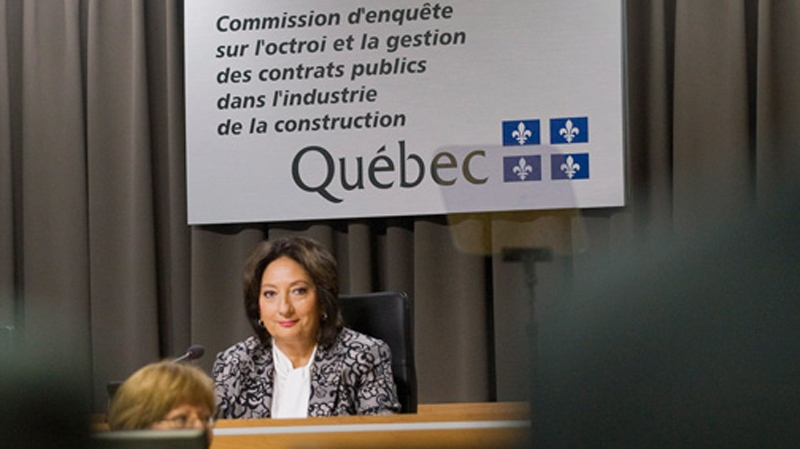 Justice France Charbonneau she sits on the opening day of a Quebec inquiry looking into allegations of corruption in the province's construction industry in Montreal, Tuesday, May 22, 2012. (Graham Hughes / THE CANADIAN PRESS)