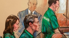 Artist's rendering of, from left, Patricia Mills, Michael Zottoli, and Mikhail Semenko, standing, at their appearance in federal court in Alexandria, Va., Thursday, July 1, 2010. (AP / Dana Verkouteren)