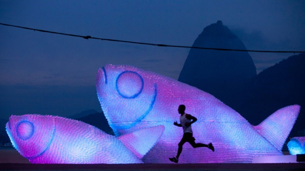 A runner on Botafogo beach in Rio de Janeiro, Brazil