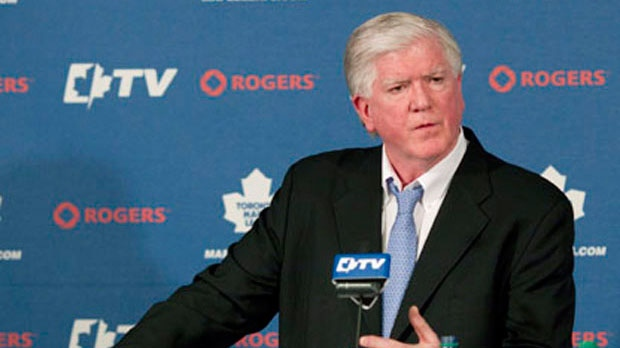 Toronto Maple Leafs General Manager Brian Burke speaks to reporters in Toronto on Tuesday, April 10, 2011. (The Canadian Press/Chris Young)