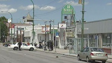 Police are investigating after a man was shot in broad daylight on Main Street.