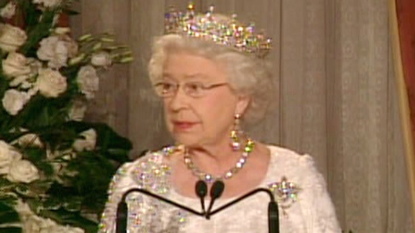 Queen Elizabeth II gives delivers a speech at a state dinner at the Royal York hotel in Toronto on Monday, July 5, 2010.