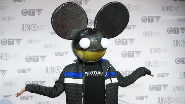Deadmau5 arrives at the Juno Awards on Sunday, April 1, 2012, in Ottawa, Ontario. (AP Photo/Arthur Mola)
