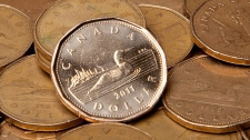 Canadian 'loonie' dollar coins.