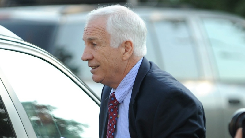 Former Penn State University assistant football coach Jerry Sandusky arrives at the Centre County Courthouse in Bellefonte, Pa., in this June 20, 2012 file photo. (AP / Centre Daily Times, Nabil K. Mark)