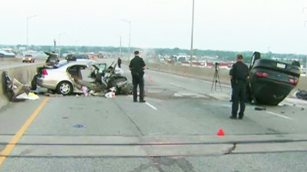 A Kitchener man was killed when a Chevy traveling the wrong way on the QEW near St.Catharines, Ont. collided head on with a Honda Civic on Monday, July 5, 2010.