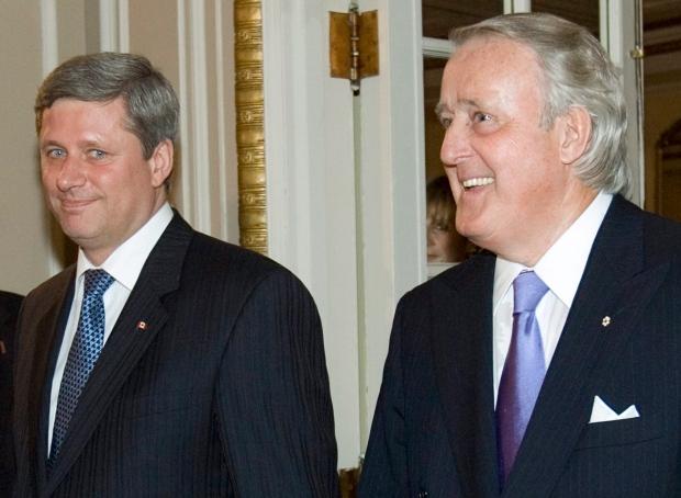 Prime Minister Stephen Harper (left) and former Prime Minister Brian Mulroney