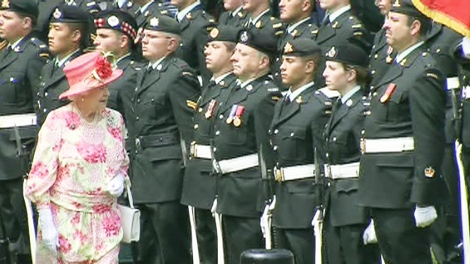 Queen Elizabeth inspects members of the Canadian Forces on the lawn of Queen's Park on Tuesday, July 6, 2010.