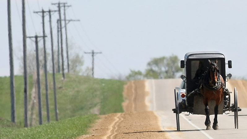 The driver of a horse and buggy makes his way along County Road X towards Platteville, Wis., Wednesday, March 28, 2012. (AP Photo/Telegraph Herald/Jessica Reilly)