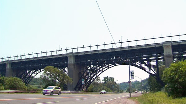 The Bloor Viaduct, and the barriers along it, are seen from the Don Valley Parkway below in Toronto, Tuesday, July 6, 2010.