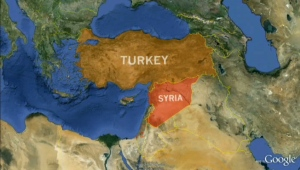 A map of Syria and Turkey is seen in this file photo.