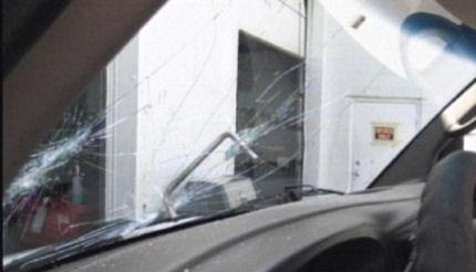 Steel rod in windshield