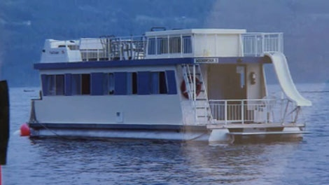 Ken Brown's houseboat is seen in this undated photo. Brown was killed in a boat collision on B.C.'s Shuswap Lake on July 4, 2010.