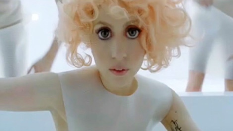 Lady Gaga appears in a music video.