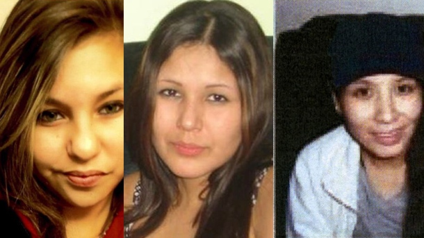 Police have arrested a suspect in connection with the deaths of three women. From left, Lorna Blacksmith, Carolyn Marie Sinclair,  and Tanya Jane Nepinak, appear in police handout photos. (The Canadian Press)