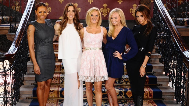 The Spice Girls, from left to right Melanie Brown, Melanie Chisholm, Geri Halliwell, Emma Bunton and Victoria Beckham during a photo call at a central London Hotel, on Tuesday June 26, 2012. (AP/PA, Ian West)