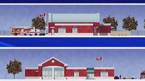 A drawing shows the proposed Sage Creek fire paramedic station.