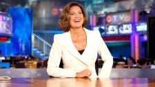 Lisa LaFlamme sits in the anchor's chair following the formal announcement naming her as the new anchor for CTV National News, in Toronto, Friday, July 9, 2010.