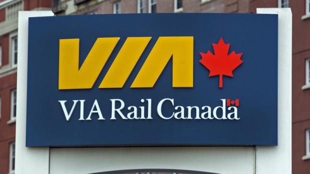 A VIA Rail sign at the train station in Halifax on Wednesday, June 27, 2012.