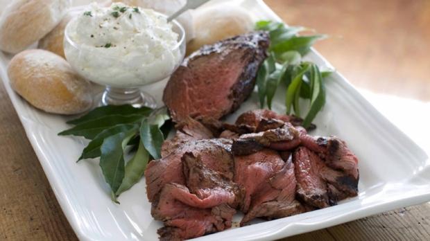 Beef tenderloin with horseradish cream.