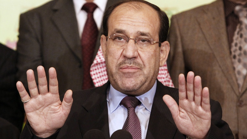 Iraqi Prime Minister Nouri al- Maliki speaks to the press in Baghdad, Iraq, Friday, March 26, 2010. (AP / Hadi Mizban)