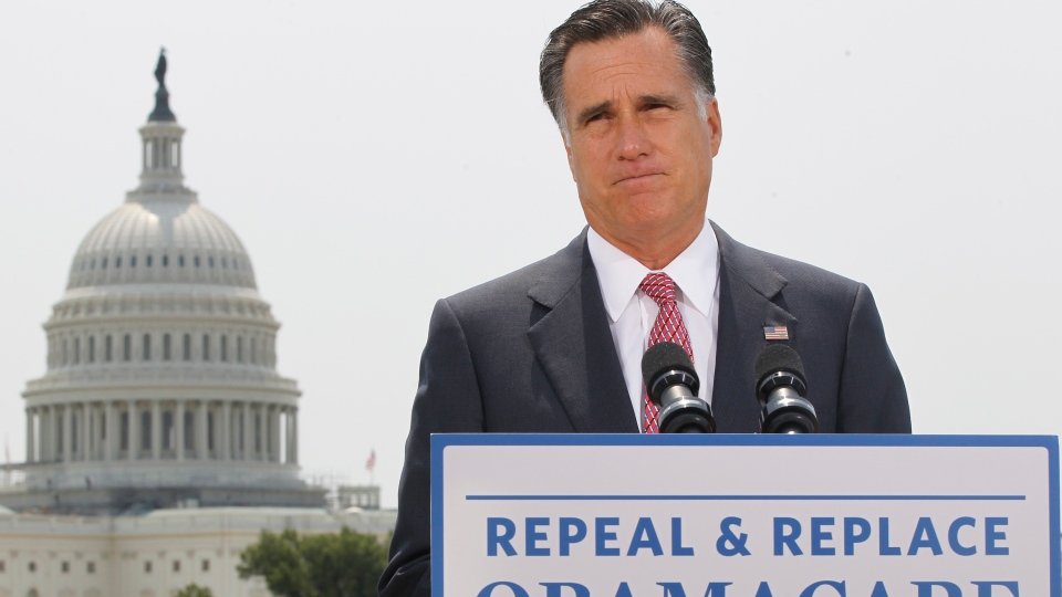 With the Capitol in the background, Republican presidential candidate, former Massachusetts Gov. Mitt Romney speaks about the Supreme Court's health care ruling, Thursday, June 28, 2012, in Washington. (AP / Charles Dharapak)