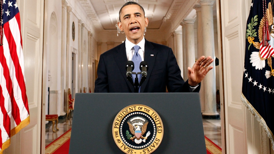 U.S. President Barack Obama speaks after the Supreme Court ruled on his health care legislation in the East Room of the White House in Washington, Thursday, June 28, 2012. (AP / Luke Sharrett)