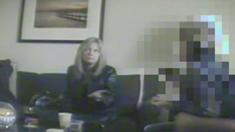 Carol Berner speaks to an undercover police officer about the car crash that killed Alexa Middelaer in this court footage. November 25, 2008.