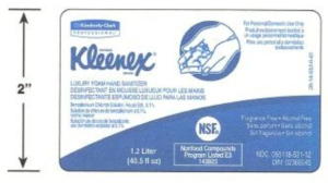 This image from Health Canada shows the label for Kleenex-brand Luxury Foam Hand Sanitizer.