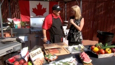 Chef Naz Cavallaro cooks cedar-planked salmon on Canada AM, Friday, June 29, 2012.